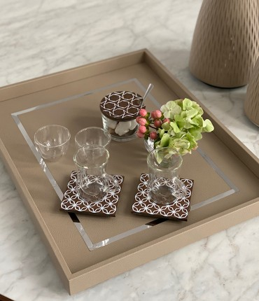 RECTANGULAR TRAY - BEIGE