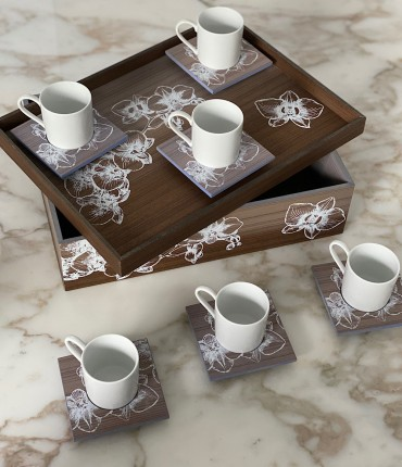 TURKISH COFFEE SET OF 6 - ORCHID