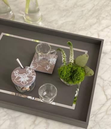 RECTANGULAR TRAY - DARK GRAY