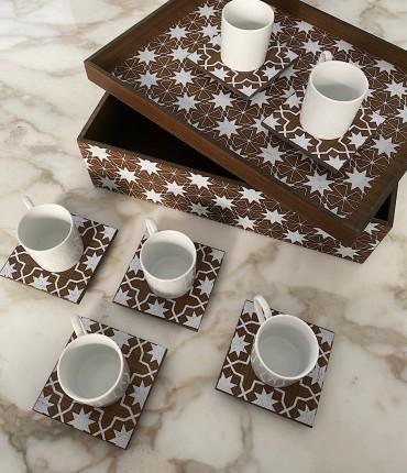 TURKISH COFFEE SET OF 6 - ISLAMIC PATTREN