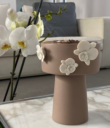 CERAMIC ORCHID MUBKHAR - BROWN
