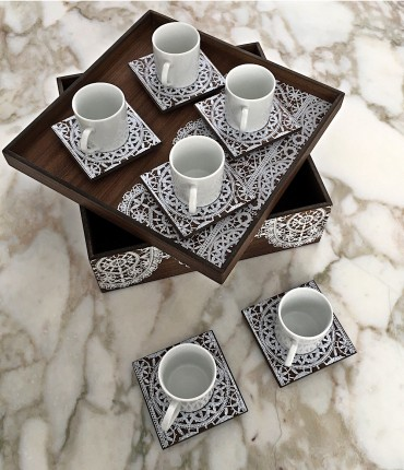 TURKISH COFFEE SET WHITE