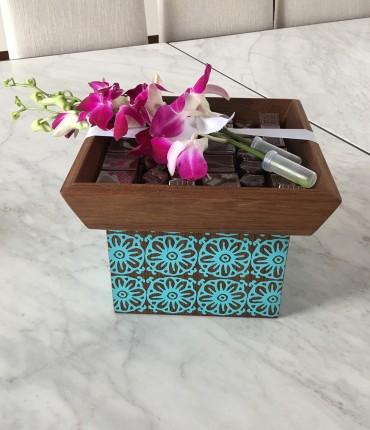 WOODEN BOX S ( AQUA )